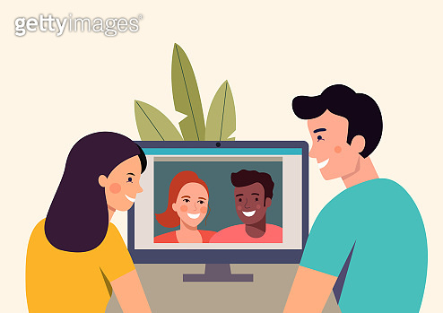Man and woman talking with their friends  by videochat. Vector flat style Illustration
