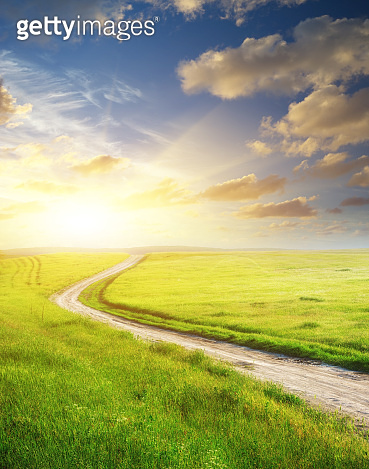 Road lane and deep blue sky