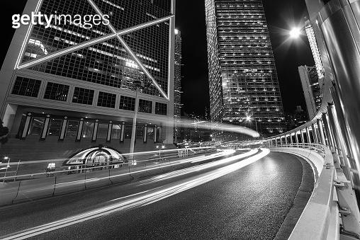 downtown of Hong Kong city at night