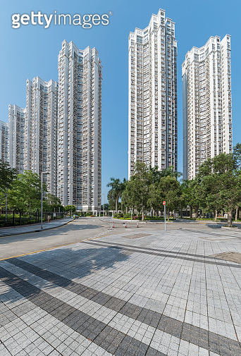 Exterior of residential building in Hong Kong city