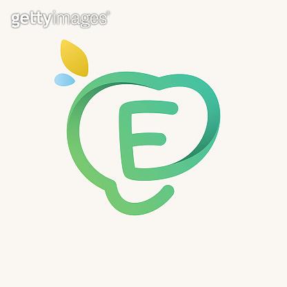 E letter green line logo.