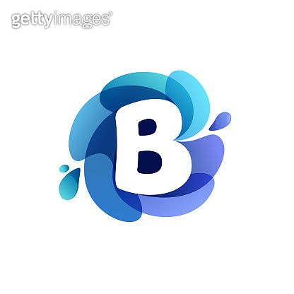 Letter B pure water logo. Swirling overlapping shape with splashing drops.