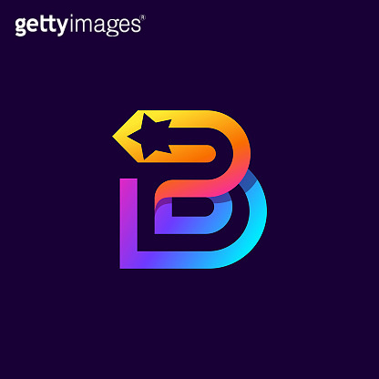 Letter B logo with star inside. Vector parallel lines icon.