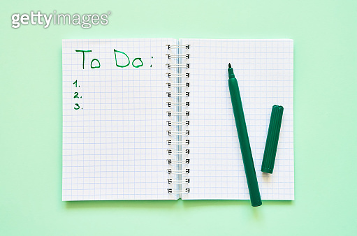 Back to school concept. Opened personal organizer with a to do list on green background. Top view, copy space.