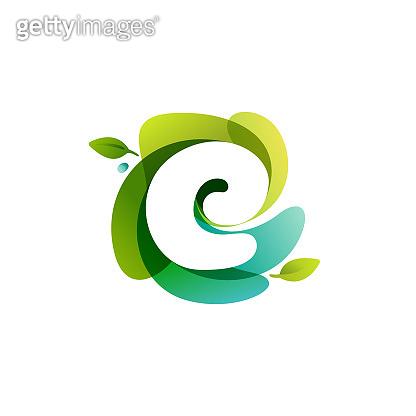 Letter E ecology logo on swirling overlapping shape.