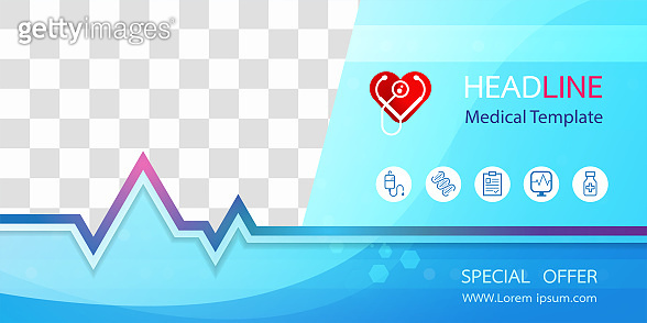 Medical banner with medical icon Blue background and space for your image. For designing templates With concepts in technology, health care, science and research