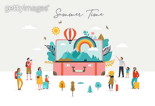 Summer scene, group of people, having fun around a huge open suitcase with travel scene, mountains, nature, rainbow and air balloon
