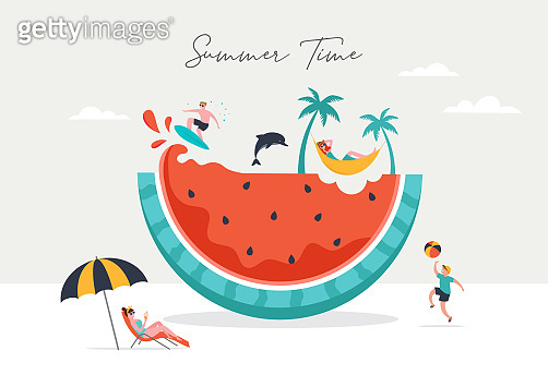 Summer scene, group of people having fun around a huge watermelon, surfing, swimming in the pool, drinking cold beverage, playing on the beach