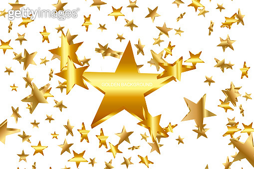 3d Star Falling. Gold Yellow Starry on whitte Background. Vector Confetti Star Background. Golden Starlit Card. Confetti Fall Chaotic Decor.