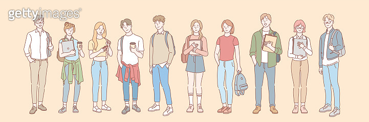 Set of college student, pupil concept