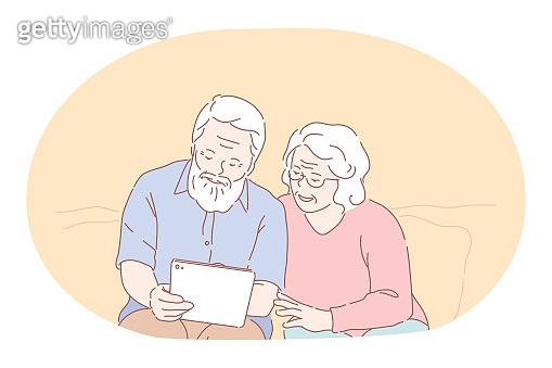 Senior elderly couple living happy active lifestyle concept