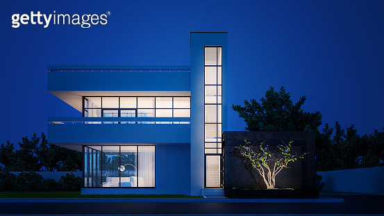 Modern house with white plaster with a balcony and a high staircase, in the cold evening light with warm light from the Windows against the background of trees and a white fence 3D stock illustration