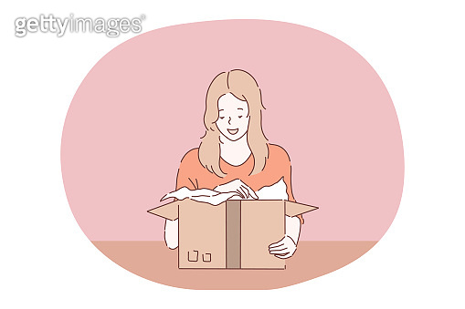 Parcel, order delivery, holiday present in box concept