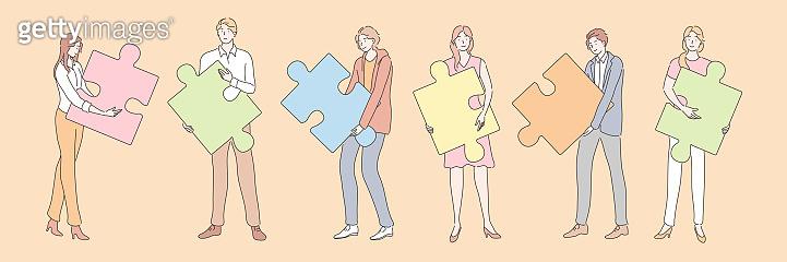 Teamwork, partnership, business cooperation, puzzle set concept