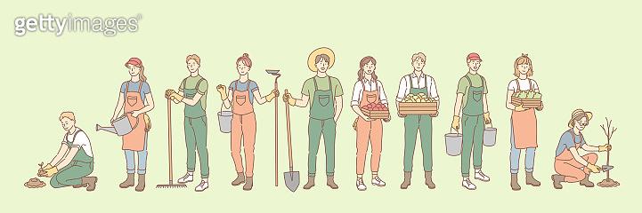 Farming, rural life, gardening, agriculture set concept