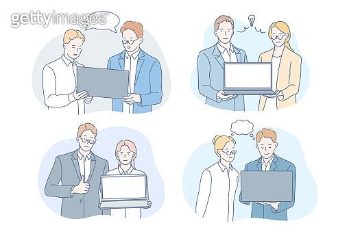 Coworking, brainstorming, teamwork, idea, business set concept