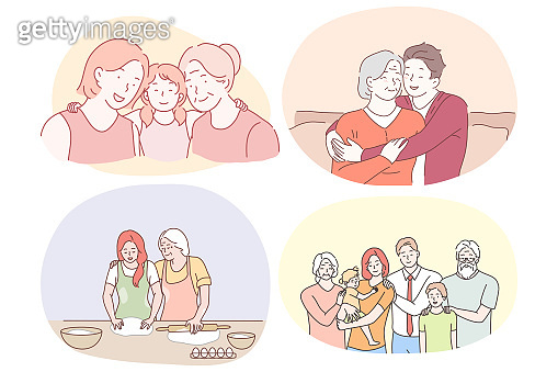 Grandmother and grandchild, happy family with grandparents concept