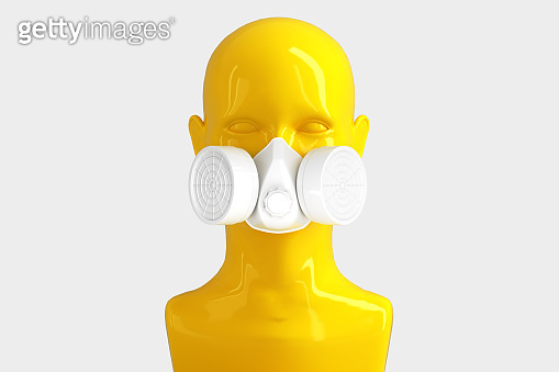 Minimalistic glamorous background with a woman's shiny porcelain face and a respirator on a white background. 3D illustration.