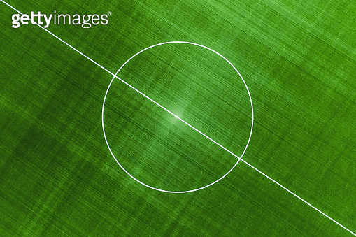 View from the air on the football field. Sports landscape from the drone. The field for football as a background. Sports - image
