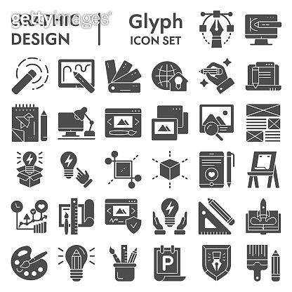 Graphic design glyph icon set, art tools symbols collection, vector sketches, logo illustrations, drawing equipment signs solid pictograms package isolated on white background, eps 10.