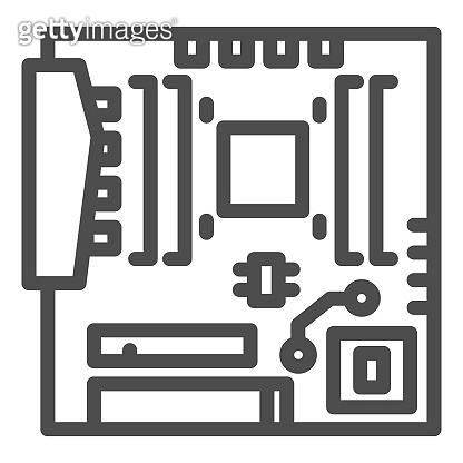 Modern motherboard line icon. Main circuit board with hardware components symbol, outline style pictogram on white background. Computer sign for mobile concept, web design. Vector graphics.
