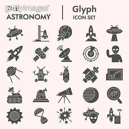 Astronomy solid icon set. Universe objects collection, vector sketches, logo illustrations, web symbols, glyph style pictograms package isolated on white background, eps 10.