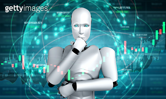 Future financial technology controlled by AI robot using machine learning and artificial intelligence