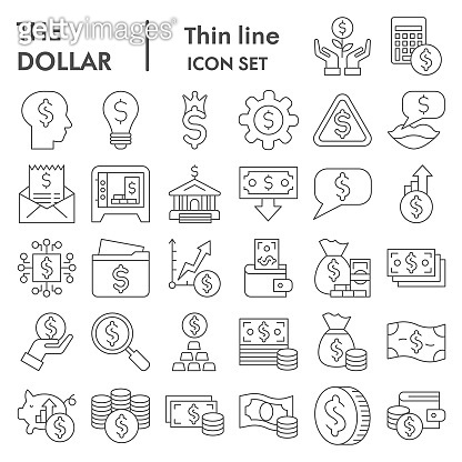 Dollar thin line icon set. Money savings signs collection, sketches, logo illustrations, web symbols, outline style pictograms package isolated on white background. Vector graphics.
