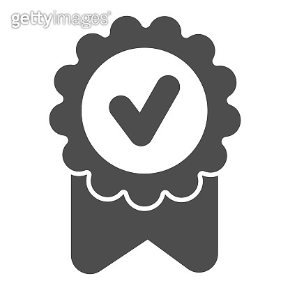 Award ribbon with marker solid icon. Special round reward with check mark glyph style pictogram on white background. The best candidate for mobile concept and web design. Vector graphics.