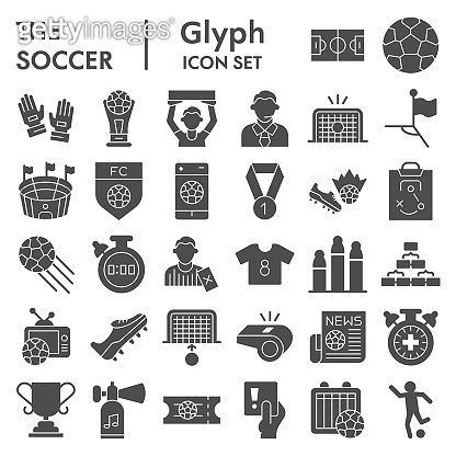 Soccer glyph icon set, football set symbols collection, vector sketches, logo illustrations, computer web signs solid pictograms package isolated on white background, eps 10.