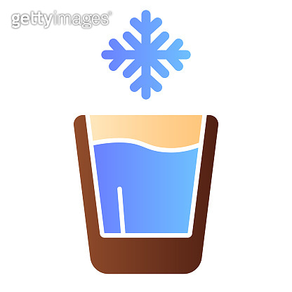 Cold drink flat icon. Iced drink color icons in trendy flat style. Glass of water gradient style design, designed for web and app. Eps 10.