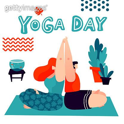 Yoga Day. Couple doing yoga together. Acro yoga asana illustration.