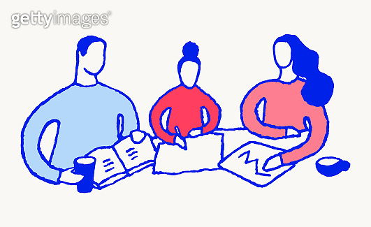 Family making home work school stay home vector