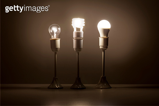 Progress of lighting with tungsten, fluorescent and LED bulb