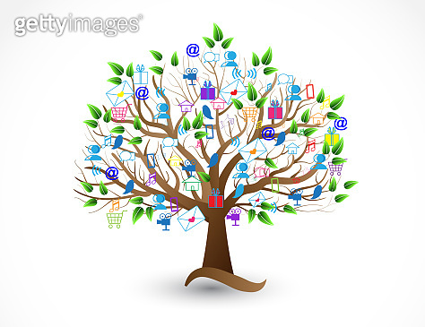 Tree Social Media Business Networking Icons Vector