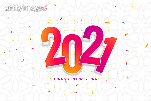 2021 new year card design with confetti