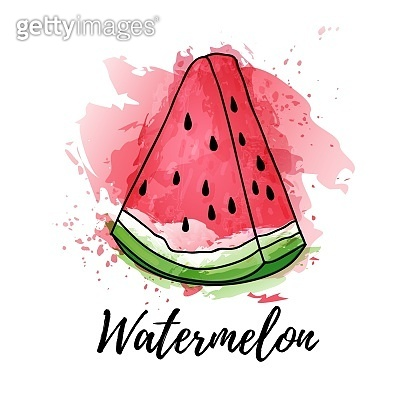 illustration of slice watermelon fruit or berry. Vector watercolor splash background. Graphics for cocktails, fresh juice design. Natural organic food label.