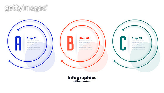 three steps infographic template in spiral line shape design