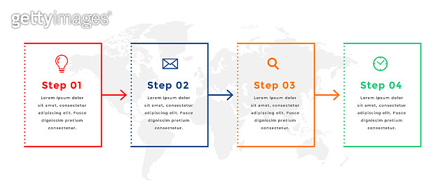 four steps directional infographic template design
