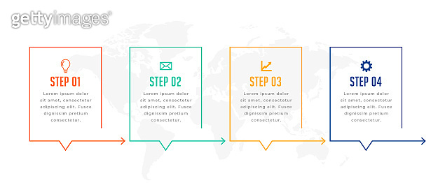 infographic template in four directional steps