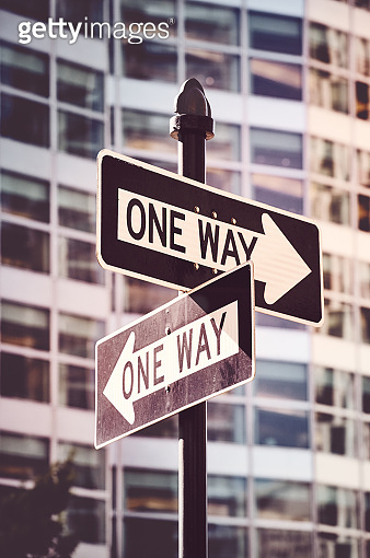 Retro stylized picture of one way street signs in New York.