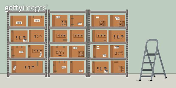 Warehouse. Storage. Shelvings with cardboard boxes