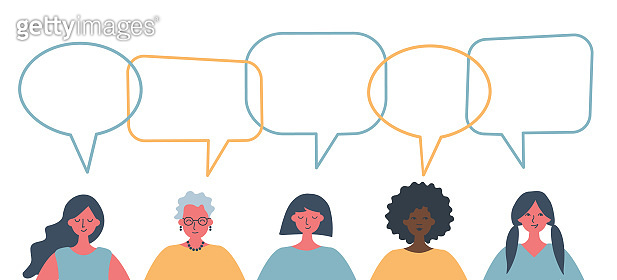 Women's community. International Women's Day concept. People icons with speech bubbles