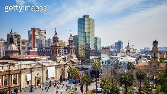 General view of Plaza de Armas, the main square of Santiago de Chile