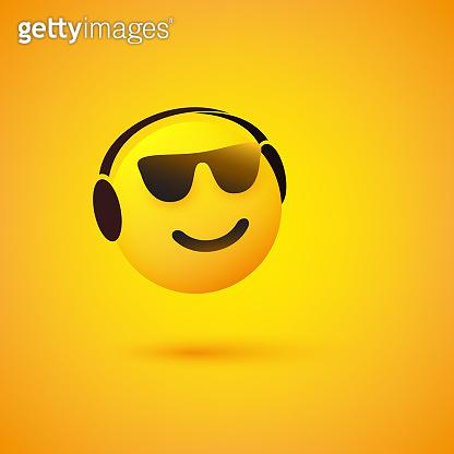 Emoji with Sunglasses Listening to Music