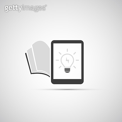 Black and White Creative Ideas Concept Design - Tablet PC and Light Bulb