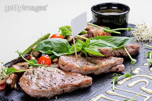 Pork medallions with roasted vegetables