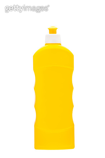 yellowe plastic bottle for detergent or liquid soap for cleaning dirt and cleaning, unlabel blank mock up on white background clipping path.