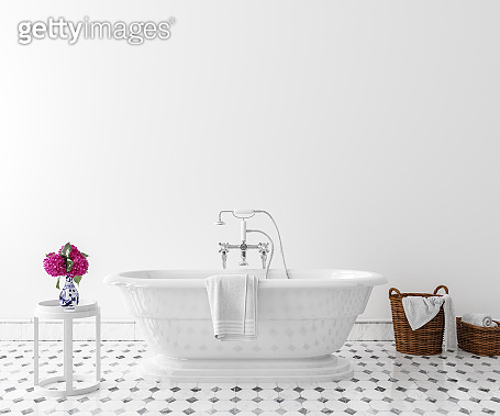 White cozy bathroom interior background, wall mockup