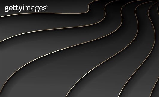 Waves of black paper with gold. Abstract background